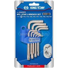 Набор Г-образных TORX T10-T50 с отверстием 9 предметов KING TONY 20409PR, фото 1