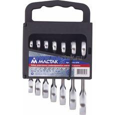 Набор комбинированных трещоточных укороченных ключей 7 предметов МАСТАК 0215-07H 10-19 мм, фото 1