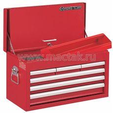 Ящик инструментальный 6 ящиков и отсек красный KING TONY 87411-6B, фото 1