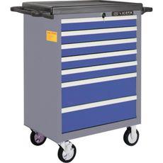 Licota AWX-2603BTSBK02 Тележка инструментальная 366 пр., 7 полок, пласт. стол., ложемент-кейс, сине-серая, фото 1