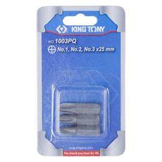 """Набор вставок (бит) 1/4"""", крестовые, №1, №2, №3, 3 предмета KING TONY 1003PQ, фото 2"""