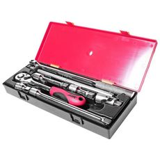 "Набор инструментов 8 предметов слесарно-монтажный 1/2"" (ключ трещот.,ворот.,удлинит.) в кейсе, фото 1"