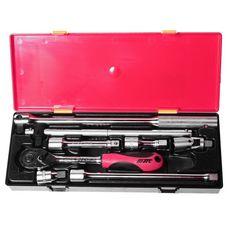 "Набор инструментов 8 предметов слесарно-монтажный 1/2"" (ключ трещот.,ворот.,удлинит.) в кейсе, фото 2"