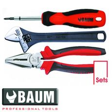 Набор инструмента на полотне 3 пр.: отвертка; плоскогубцы L=200 мм; ключ разводной L=200 мм (Baum 190E), фото 1