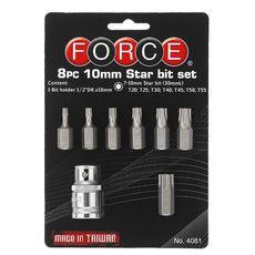 Набор бит Torx 30 мм с держателем (T20; T25; T30; T40; T45; T50; T55) FORCE 4081, фото 1