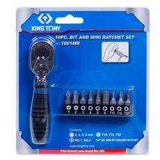 """Набор вставок (бит) с трещоткой 1/4"""", TORX, HEX, PH, 10 предметов KING TONY 1001MR, фото 1"""